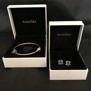 Pandora bracelet and earring set